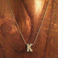 initial k pendant necklace silver tone