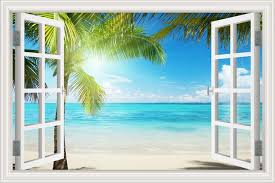 Amazon Com Beautiful White Beach Coconut Tree 3d Window View Wall Sticker Blue Ocean Theme Tropical Island Wall Decor Decals For Bedroom Mural Wallpaper 32 X48 Arts Crafts Sewing