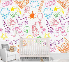Custom Wallpaper Simple Crayon Drawing Fairy Tale Kingdom Children S Room Interior Background Wall 3d 5d 8d Optional Fabric Textile Wallcoverings Aliexpress