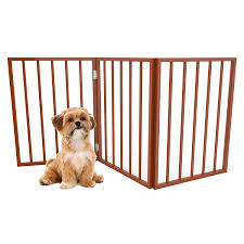 Petmaker Foldable Standing Free Wooden Pet Gate Light Weight Indoor Barrier For Small Dogs Cats Light Brown 24 Inch Amazon In Baby