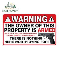 Earlfamily 13cm X 7 7cm Warning Owner Armed Security Sticker Gun Decal Vinyl Window Car Stickers Car Styling Car Stickers Aliexpress