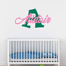 Amazon Com Boy S Custom Name And Initial Wall Decal Choose Your Own Name Initial And Letter Styles Multiple Sizes Vinyl Decor Wall Decor Wall Decal Nursery For Home Bedroom Children Wall Sticker Decor