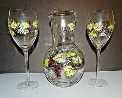 3 piece set hand painted wine glasses
