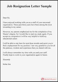 job resignation letter sle format