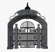 Cemetery Gate Iron Stone Entrance Halloween Porta Cemiterio Png Transparent Png Kindpng
