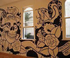 Pin By Heather Moser On Decor Ideas For New House Tattoo Shop Decor Tattoo Studio Interior Graffiti Wall Art