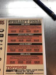 menu of jacks pizza restaurant