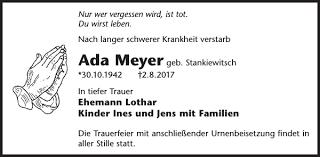 Ada Meyer : Traueranzeige, Wochen Kurier