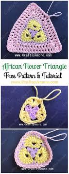 crochet 3 petal african flower triangle