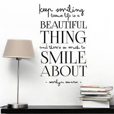 keep smiling life is beautiful wall stickers family vinyl