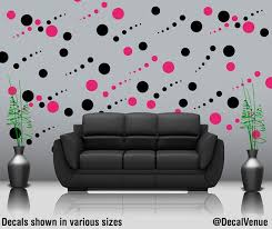 Hot Pink And Black Polka Dot Wall Decals Circles Vinyl By Decal Polka Dot Decal Gold Polka Dots Wall Wall Decals