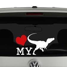 Love My Velociraptor Sillhouette Vinyl Decal