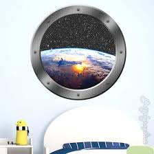 Earth Wall Decal 3d Window Porthole View Outer Space Graphics Etsy Zebra Print Walls Wall Decals Outer Space