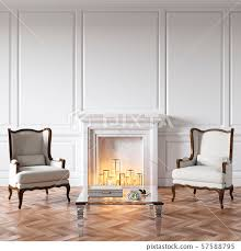 classic white interior with fireplace