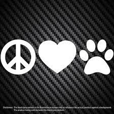 Peace Love Paw Vinyl Decal Car Window Bumper Sticker Dog Puppy Etsy