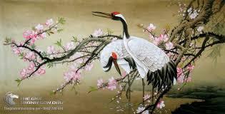 Tranh Vẽ Đôi Chim Hạc Bên Cành Đào