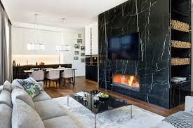 marble wall with integrated fireplace