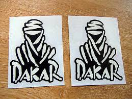 2x dakar stickers black white 75mm