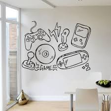 Kids Games Room Decoration Video Game Controller Wall Stickers Gamers Pleyer Vinyl Wall Decal Boys Playroom Wallpaper Az980 Wall Stickers Aliexpress
