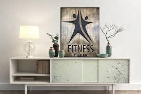 Fitness Club Decor Wall Hanging Fitness Wall Decal Custom Logo Design Trend Gallery Art Original Abstract Paintings