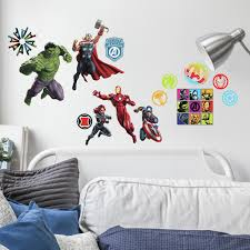 Classic Avengers Peel And Stick Wall Decals Thor Iron Man Captain America Black Panther 26 Marvel Stickers Walmart Com Walmart Com
