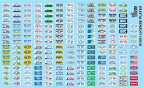 License Plates Decal Sheet Model Car Decals 1 24 1 25 Scale Decals