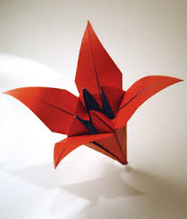 the origami lily with the flower stem