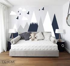 Mountains Wall Decal Woodland Baby Room Decal Clouds Birds Etsy