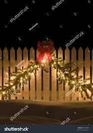 White Picket Fence Christmas Decorations Holidays Stock Image 7970059