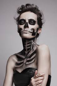 skeleton makeup transforms model into
