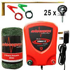 Mains Electric Fence Energiser Srm412 1 2j Green Polywire Insulators Starter Kit 765973905331 Ebay