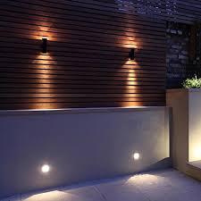 garden with garden wall lights