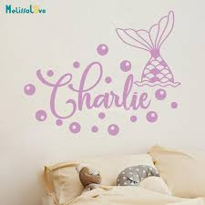 Mermaid Tail Custom Name Sticker Girl Baby Room Personalized Decal Kids Nursery Decor Vinyl Wall Stickers Ba471 Wall Stickers Aliexpress