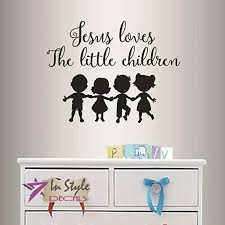 Amazon Com Wall Vinyl Decal Home Decor Art Sticker Jesus Loves The Little Children Quote Phrase Cute Little Kids Holding Hands Dance Nursery Bedroom Play Room Removable Stylish Mural Unique Design 2563 Home