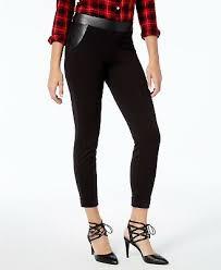 l63 hue black women s faux leather trim