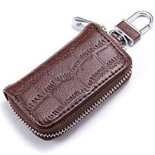 genuine leather key holder zipped