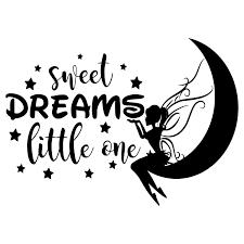 Amazon Com Fairy Moon Wall Decal Quote Sweet Dreams Little One Stars Vinyl Sticker Fairy Decals Lettering Wall Art Nursery Decor Girls Bedroom Decor Nl161 Handmade