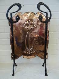 art nouveau copper wrought iron fire