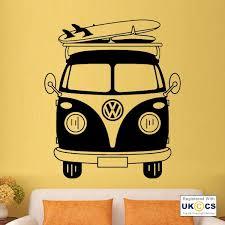 Vw Camper Van Cool Retro Beach Volkswagen Wall Art Stickers Decals Vinyl Home Vinyl Art Modern Wall Decals Sticker Wall Art