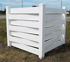 White Basketweave Pvc Fence Corner Privacy Driveway Garden Accent Garbage Can Ac Unit Enclosure Amazon Co Uk Garden Outdoors
