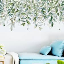 Green Leaves Vine Wall Stickers For Living Room Bedroom Tv Sofa Background Self Adhesive Wall Decals Removable Vinyl Wall Murals Wall Stickers Aliexpress