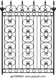 Eps Vector Wrought Iron Gate Door Fence Window Grill Railing Design Stock Clipart Illustration Gg75366852 Gograph