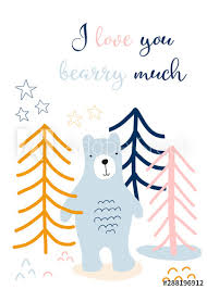 I Love You Card Kids Scandinavian Style With Cute Bear In Forest Hand Drawn Vector Illustration I Love You Berry Much Children Greeting Card Template Sticker Wall Decor Kids Room Decoration