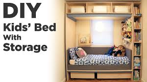 Diy Kids Bed With Storage Kids Room Organization And Renovation Youtube