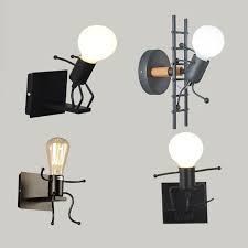 Best Offer B0105 Wall Light Chandelier Cartoon Robot Lights Led Lamp Creative Mounted Iron Bedside Sconce Lamp For Kids Baby Room Living Room Cicig Co