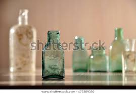 green bottle closeup stock photo