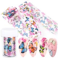 1set Nail Butterfly Sticker Flower Transfer Foils Slide Marble Adhesive Wraps Butterflies Nail Art Decal Manicure Tips Bexk102 1 Stickers Decals Aliexpress