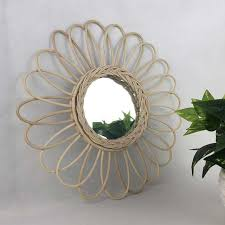 hanging wall mirror with macrame fringe