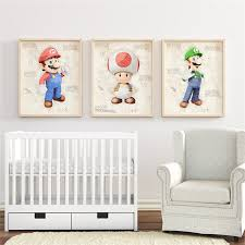 Cartoon Anime Game Super Mario Hd Quality Nursery Kids Room Painting Home Decor Art Decor Posters Canvas Painting K709 Painting Calligraphy Aliexpress