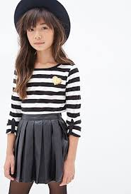 pleated faux leather skirt kids